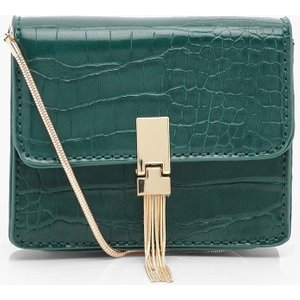 Boohoo Womens Croc Metal Tassel Cross Body Bag - Green - One Size, Green Fzz7233613035 Womens Accessories, Green