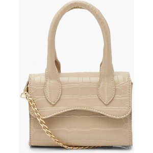 Boohoo Womens Croc Mini Structured Handle Cross Body Bag - White - One Size, White Fzz5615012335 Bags, White