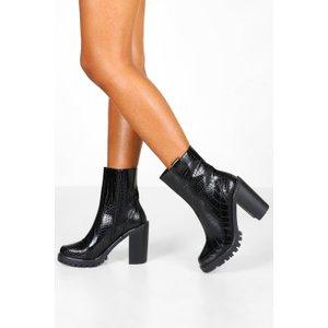 Boohoo Womens Croc Panel Chunky Platform Chelsea Boots - Black - 6, Black Fzz8455310514 Womens Footwear, Black