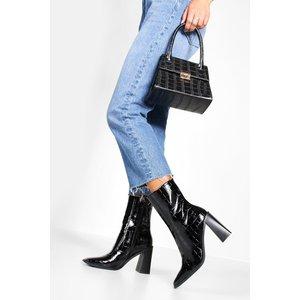 Boohoo Womens Croc Square Toe Block Heel Sock Boots - Black - 5, Black Fzz8836710513 Womens Footwear, Black