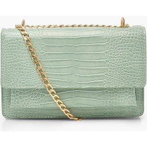boohoo Womens Croc Structured Cross Body & Chain Bag - Green - One Size, Green FZZ7973620935 Womens Accessories, Green