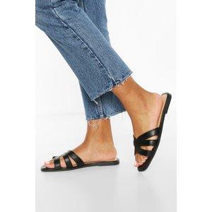 Boohoo Womens Cross Strap Sliders - Black - 3, Black Fzz7056910511 Womens Footwear, Black