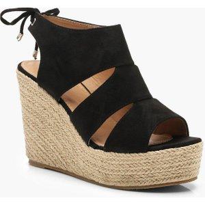 boohoo Womens Cut Work Detail Espadrille Wedges - Black - 3, Black DZZ0241310511 Womens Footwear, Black