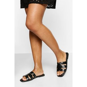 Boohoo Womens Cutwork Single Strap Slider - Black - 5, Black Fzz5890610513 Womens Footwear, Black