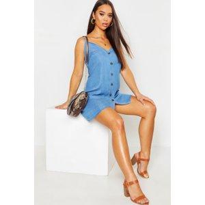Boohoo Womens Denim Chambray Button Through Slip Dress - Blue - 14, Blue Fzz9029410622 Womens Dresses & Skirts, Blue