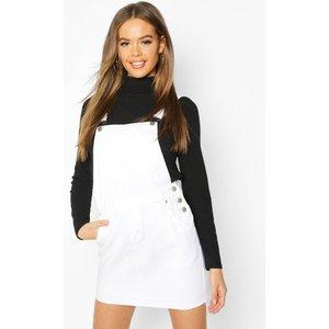 Boohoo Womens Denim Dungaree Frayed Hem Pinafore Dress - White - 8, White Fzz7715017316 Womens Dresses & Skirts, White