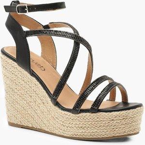 boohoo Womens Diamante Strap Espadrille Wedges - Black - 7, Black DZZ0241510515 Womens Footwear, Black