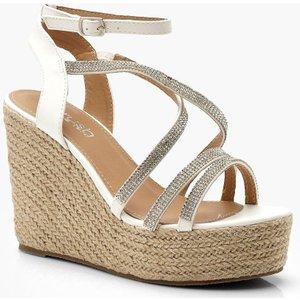 boohoo Womens Diamante Strap Espadrille Wedges - White - 8, White DZZ0241517316 Womens Footwear, White