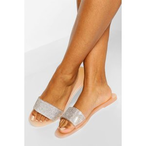 Boohoo Womens Diamante Strap Jelly Sliders - Beige - 7, Beige Fzz6454029515 Womens Footwear, Beige