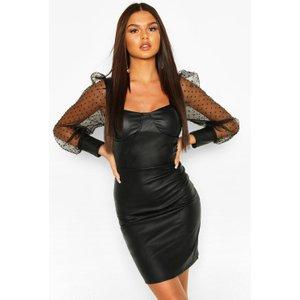 Boohoo Womens Dobby Mesh Faux Leather Mini Dress - Black - 12, Black Fzz6822710520 Womens Dresses & Skirts, Black