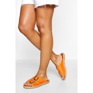 Boohoo Womens Double Strap Espadrille Footbed Sliders - Orange - 3, Orange Fzz5654715211 Womens Footwear, Orange