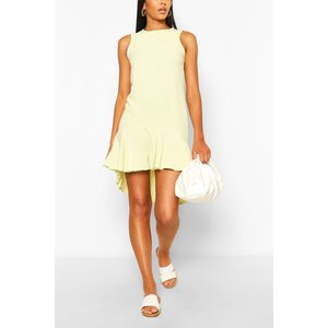 Boohoo Womens Drop Hem Frill Smock Dress - Green - 16, Green Fzz6456919424 Womens Dresses & Skirts, Green