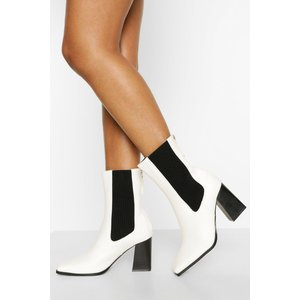 Boohoo Womens Elastic Detail Block Heel Shoe Boot - White - 5, White Fzz5336917313 Womens Footwear, White