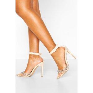 Boohoo Womens Embellished Clear Court Shoe Heels - Beige - 5, Beige Fzz7333629513 Womens Footwear, Beige