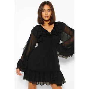 Boohoo Womens Extreme Ruffle Plunge Mini Dress - Black - 8, Black Fzz4939010516 Womens Dresses & Skirts, Black
