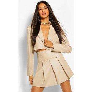 Boohoo Womens Faux Leather Pleated Mini Skirt - Beige - 10, Beige Fzz5043816518 Womens Dresses & Skirts, Beige