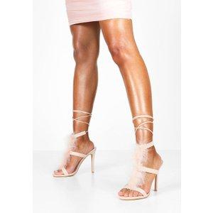boohoo Womens Feather Trim Heeled Sandals - Pink - 5, Pink FZZ8448810713 Womens Footwear, Pink