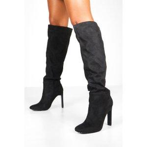 Boohoo Womens Flat Heel Square Toe Knee Boots - Black - 6, Black Fzz8251610514 Womens Footwear, Black