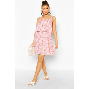 Boohoo Womens Floral Print Double Frill Skater Dress - Pink - 14, Pink Fzz6604710722 Womens Dresses & Skirts, Pink