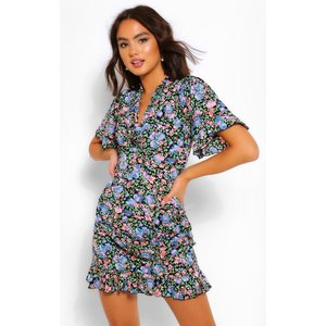 Boohoo Womens Floral Print Flutter Sleeve Shift Dress - Black - 10, Black Fzz5382910518 Womens Dresses & Skirts, Black
