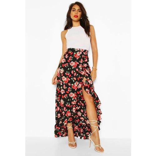 Boohoo Womens Floral Print Ruffle Hem Maxi Skirt - Black - 16, Black Fzz7121310524 Womens Dresses & Skirts, Black