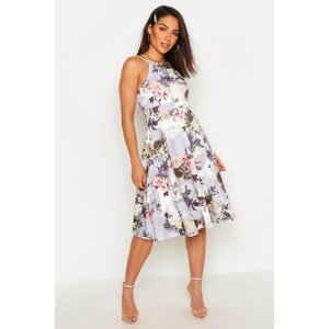 Boohoo Womens Floral Print Strappy Full Skater Dress - Grey - 10, Grey Dzz8401913118 Womens Dresses & Skirts, Grey
