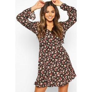 Boohoo Womens Floral Ruffle Smock Dress - Black - 10, Black Fzz8051710518 Womens Dresses & Skirts, Black