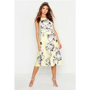 Boohoo Womens Floral Strappy Midi Skater Dress - Yellow - 10, Yellow Dzz6857817418 Womens Dresses & Skirts, Yellow