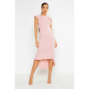 Boohoo Womens Frill Detail Strappy Back Fishtail Midi Dress - Pink - 10, Pink Fzz9439010718 Womens Dresses & Skirts, Pink