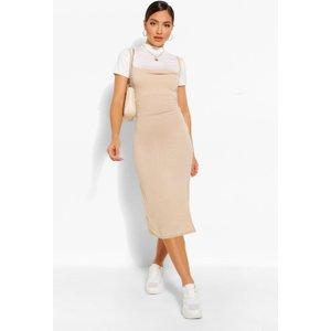 Boohoo Womens Funnel Neck T-shirt & Midi Slip Dress - Beige - 10, Beige Fzz5106216518 Womens Dresses & Skirts, Beige