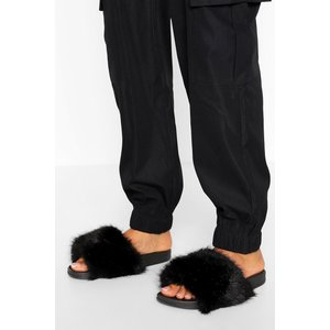 Boohoo Womens Fur Slider - Black - 4, Black Fzz0227810512 Womens Footwear, Black