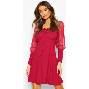 Boohoo Womens Gypsy Skater Dress With Mesh Sleeves And Deep Cuff - Red - 10, Red Fzz7284115718 Womens Dresses & Skirts, Red