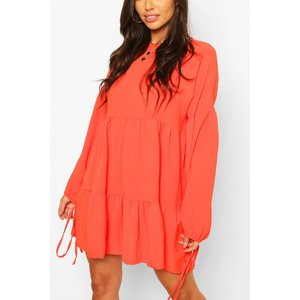 Boohoo Womens Hammered Satin Tie Sleeve Tierred Smock Dress - Orange - 14, Orange Fzz6475312222 Womens Dresses & Skirts, Orange