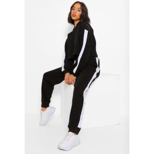 Boohoo Womens Her Contrast Panelled Crop Hooded Tracksuit - Black - 10, Black Fzz4997710518 Womens Sportswear, Black
