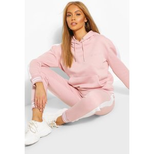 Boohoo Womens Her Side Panel Contrast Rib Hooded Tracksuit - Pink - 12, Pink Fzz9956835520 Womens Sportswear, Pink
