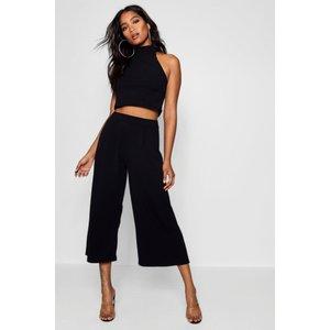 Boohoo Womens High Neck Crop And Culotte Co-ord Set - Black - 6, Black Dzz8486710514 Womens Trousers, Black