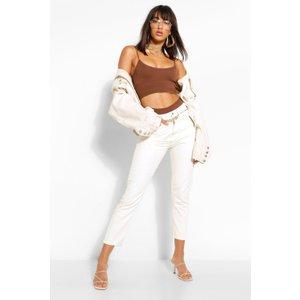 Boohoo Womens High Rise Mom Jean - Cream - 8, Cream Fzz6087312416 Womens Trousers, Cream