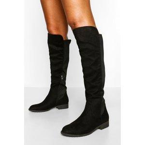 Boohoo Womens Knee High Stretch Riding Boot - Black - 7, Black Fzz5511710515 Womens Footwear, Black
