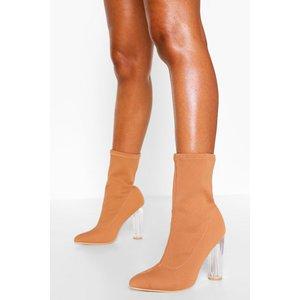 Boohoo Womens Knitted Clear Heel Sock Boots - Beige - 8, Beige Fzz4479011116 Womens Footwear, Beige