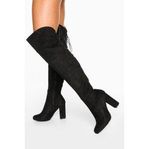 Boohoo Womens Lace Back Block Heel Over The Knee Boots - Black - 6, Black Dzz7532410514 Womens Footwear, Black