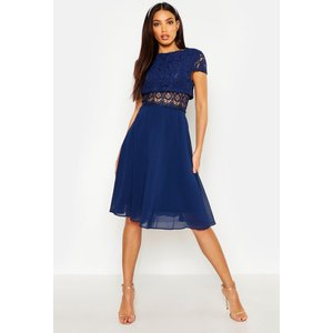 Boohoo Womens Lace Top Chiffon Skater Dress - Navy - 16, Navy Dzz7054414824 Womens Dresses & Skirts, Navy