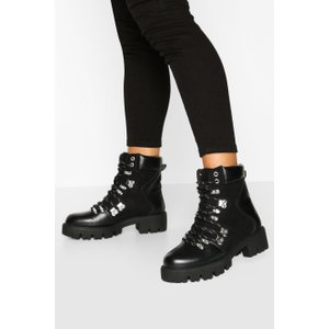 Boohoo Womens Lace Up Cleated Sole Hiker Boots - Black - 4, Black Fzz7267410512 Womens Footwear, Black