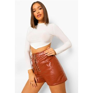 Boohoo Womens Lace Up Front Leather Look Shorts - Brown - 16, Brown Fzz8235516624 Womens Dresses & Skirts, Brown