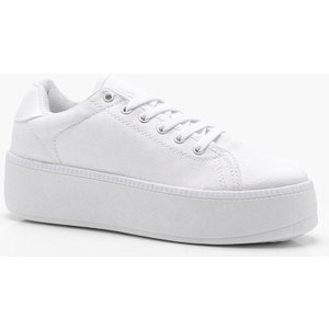 boohoo Womens Lace Up Platform Trainers - White - 4, White DZZ3449617312 Womens Footwear, White
