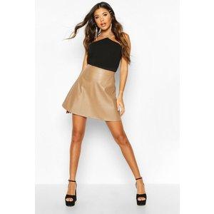 Boohoo Womens Leather Look A Line Mini Skirt - Beige - 16, Beige Fzz8209011124 Womens Dresses & Skirts, Beige