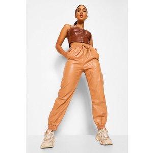 Boohoo Womens Leather Look Tie Waist Joggers - Beige - 16, Beige Fzz5774529524 Womens Trousers, Beige