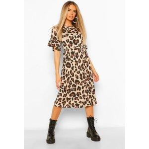 Boohoo Womens Leopard Print Midi Smock Dress - Brown - 10, Brown Fzz4546916618 Womens Dresses & Skirts, Brown