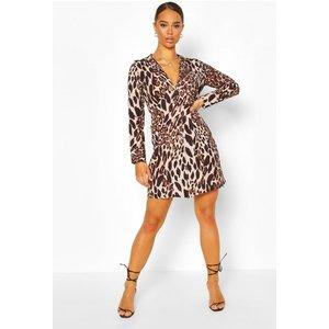 Boohoo Womens Leopard Print Plunge Button Through Shirt Dress - Brown - 12, Brown Fzz6905710920 Womens Dresses & Skirts, Brown