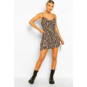 Boohoo Womens Leopard Print Ruched Slip Dress - Beige - 12, Beige Fzz4498919720 Womens Dresses & Skirts, Beige