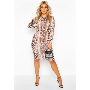 Boohoo Womens Leopard Printed Long Sleeve Midi Dress - Brown - 8, Brown Pzz6790010916 Womens Dresses & Skirts, Brown